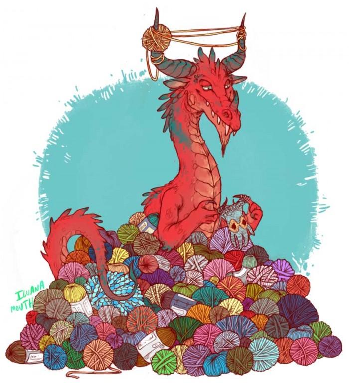 Não seja como o dragão acumulador de lãs: desapega e seja mais criativa! (crédito da foto: Iguana Mouth do site lizardshuffle)