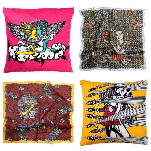 Almofadas e lenços de Rogério Fernandes (crédito da foto: rogeriofernandes.com.br)