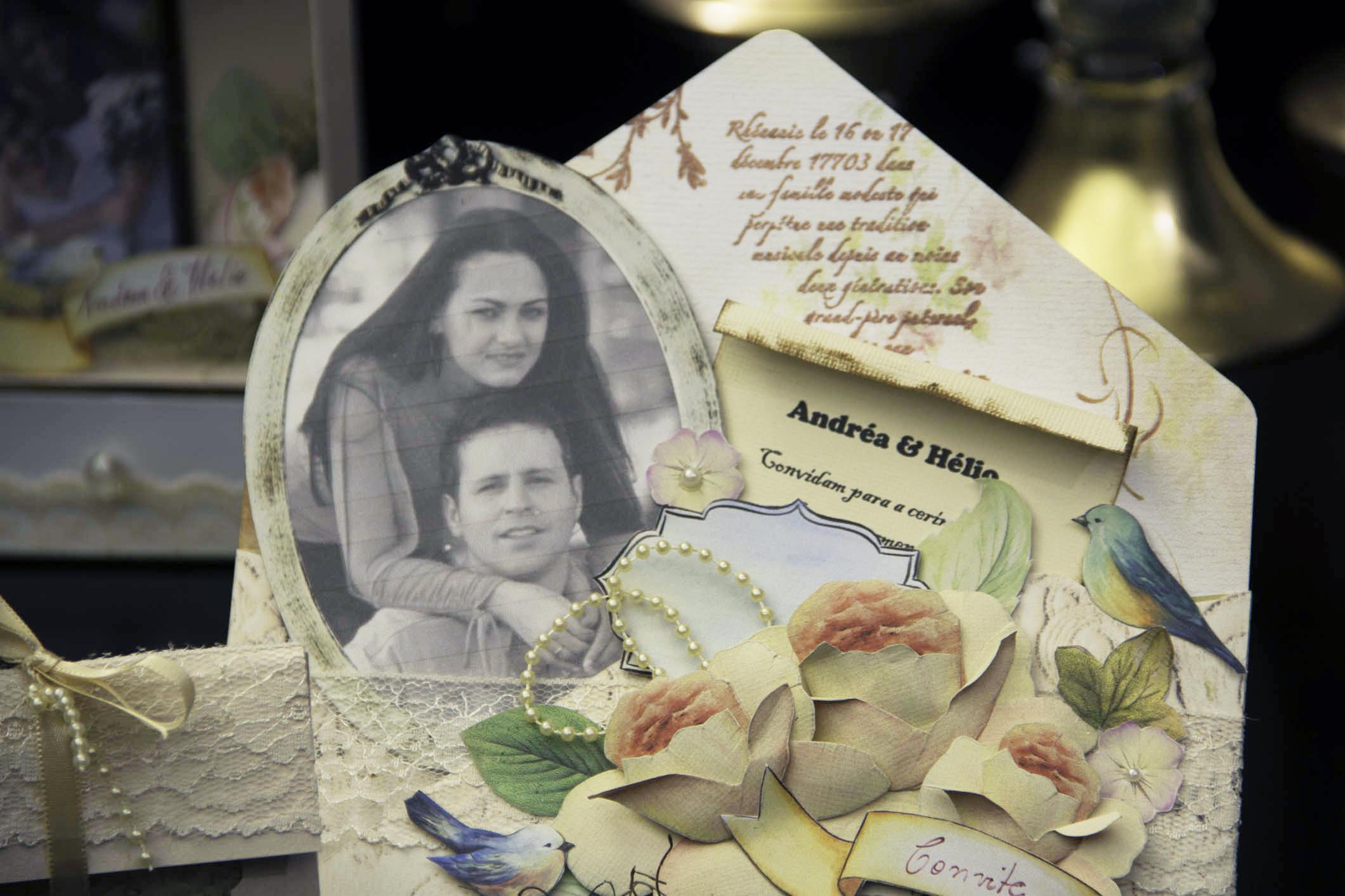 História de sucesso: convite de casamento em scrap feito pelo Hélvio