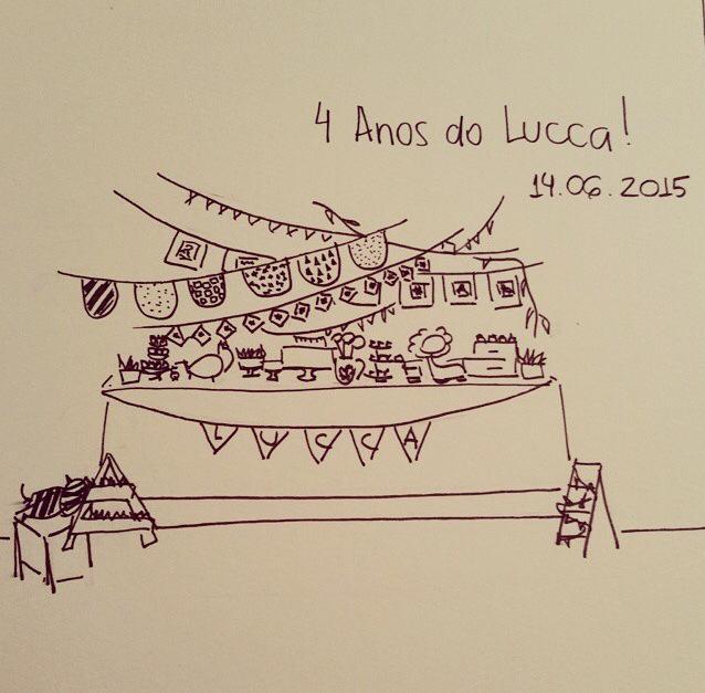 Da imaginação à realidade: tudo começa com um desenho nas mãos de Ana e Mari (crédito da foto: Festinhas Manuais)