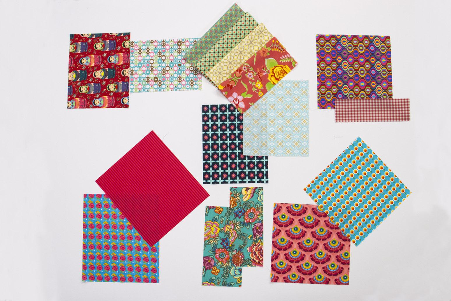 combinação de cores, diversos retalhos de tecidos estampados que combinam