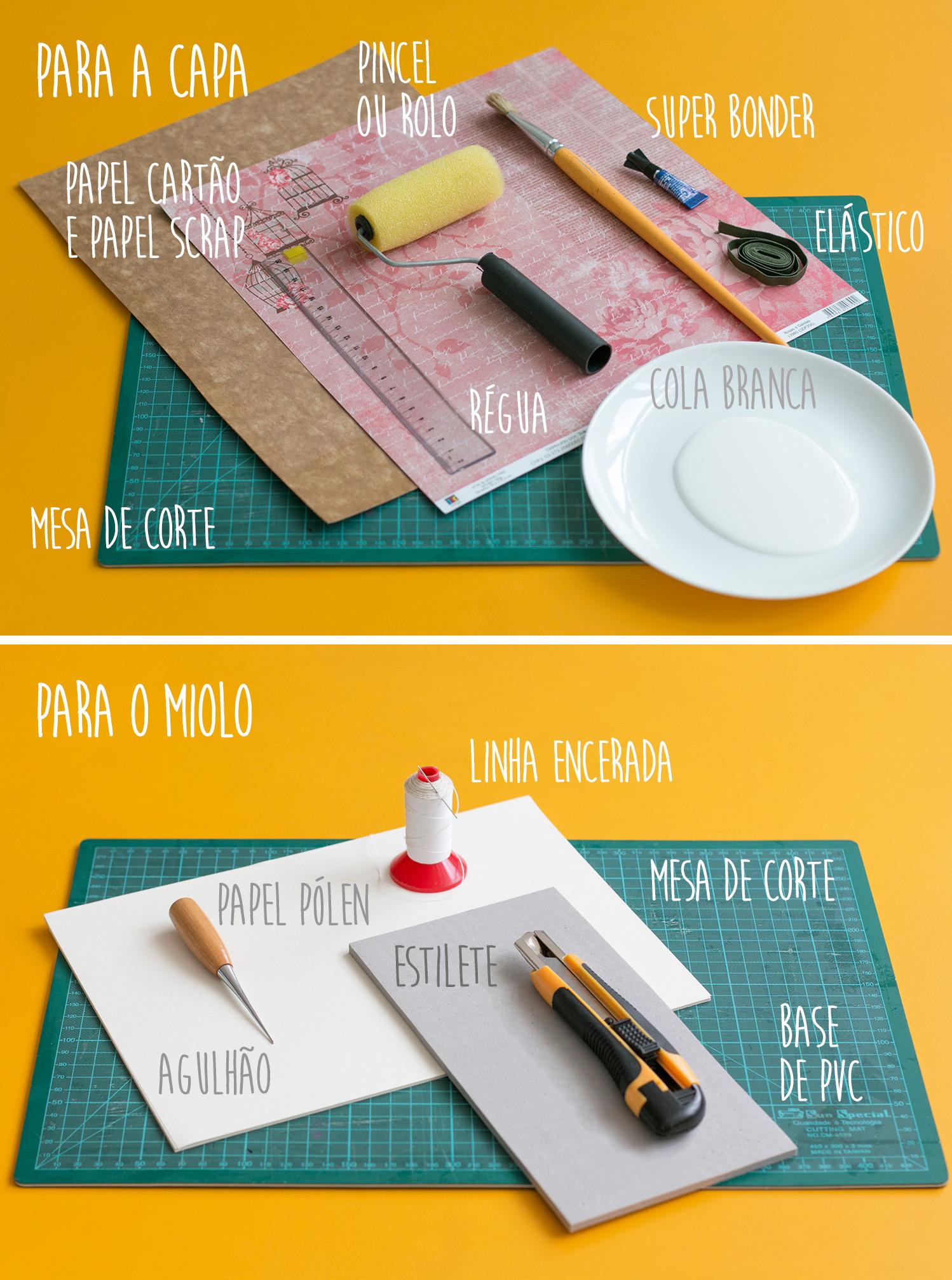 Para fazer essa técnica de encadernação manual, você vai precisar de: papel cartão, papel scrap, um pincel ou rolo de pintura, régua, superbonder, cola branca, um elástico, linha encerada, papel pólen, estilete, mesa de corte, base de PVC e um agulhão ou ferramenta auxiliar