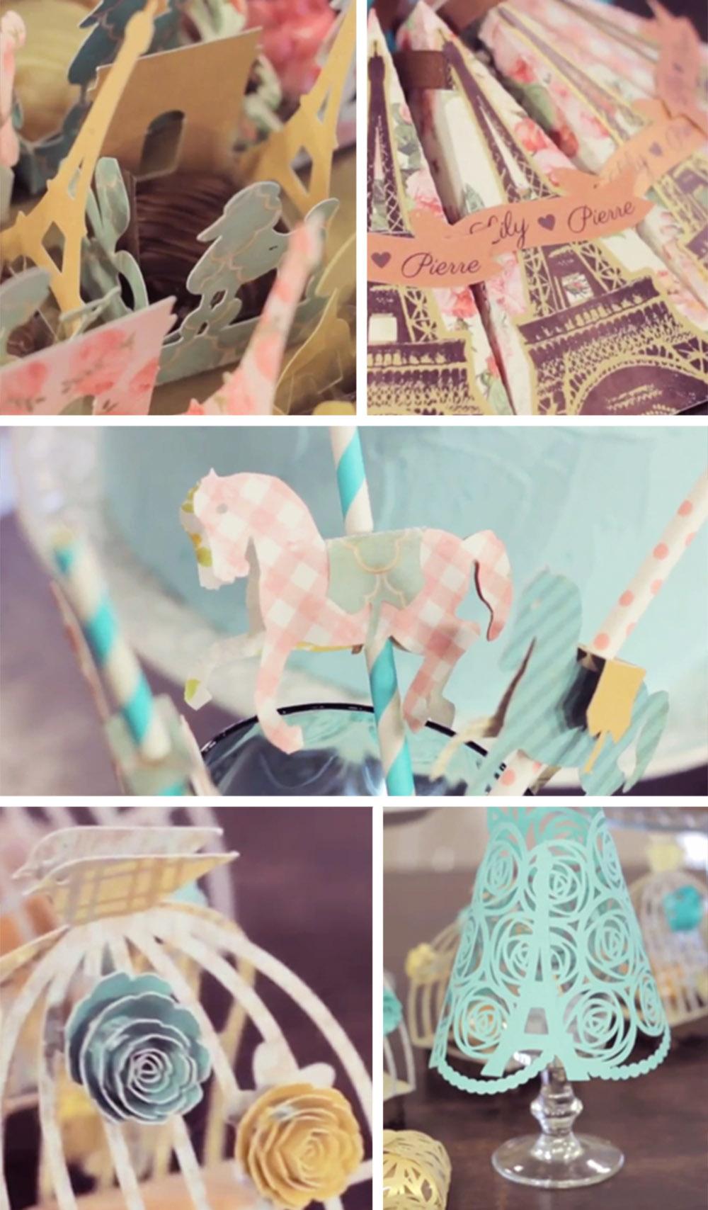 Detalhes da decoração de casamento em papel desenvolvida por Elá inspirada em Paris