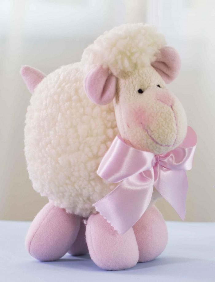 bichos de pano, ovelha fofa branca com patas, orelhas e laço rosa