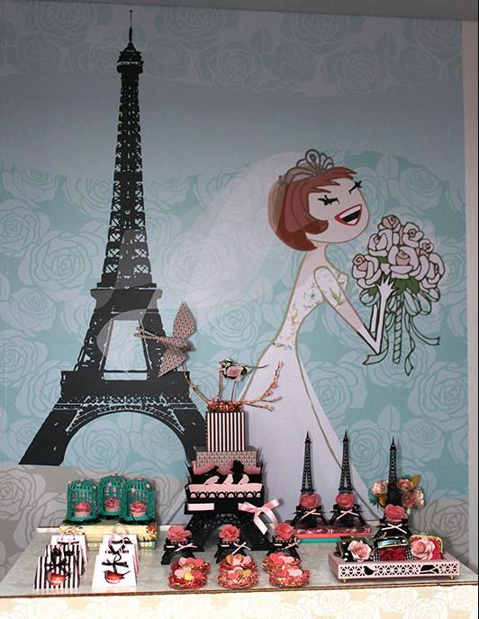 Decoração de casamento em papel criada por Elá com o tema Paris. Repare na escolha das cores, super suaves!