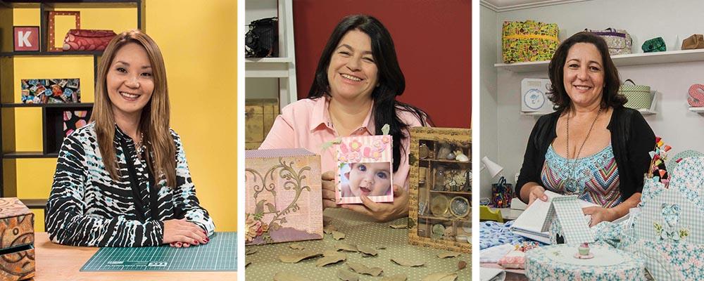 Claudia Wada, Carla Moura e Simone Aguiar falam sobre os segredos da cartonagem