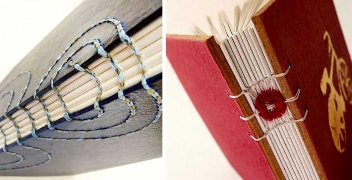 Encadernar arte. Cadernos elaborados por Luisa com costuras inusitadas e mistura de meios (créditos da foto: site O canteiro de alfaces)