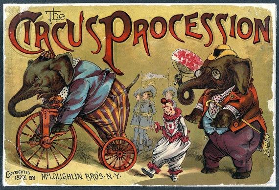 Cartaz vintage do circo de 1888 (crédito da foto: site Etsy)