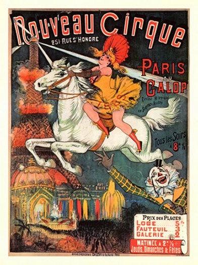 Cartaz de circo Francês do século XIX (crédito da foto: site Etsy)