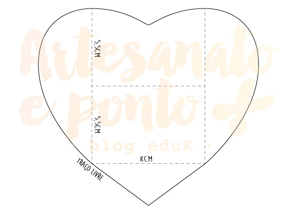 Molde de coração para fazer um envelope