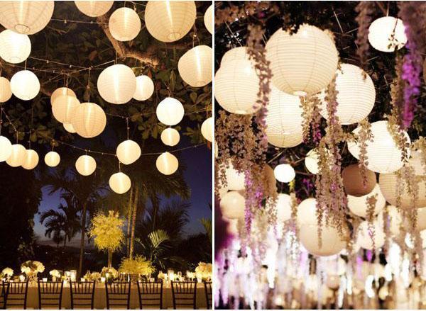 Lanternas de papel ficam lindas em casamentos à noite.... (crédito da foto: praise wedding)