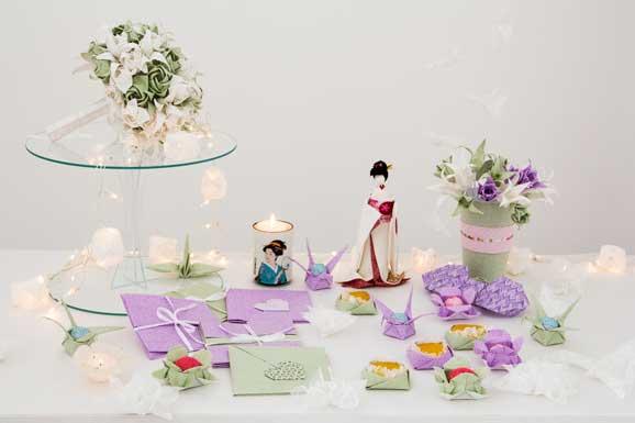 Mesa para decorar festa de casamento com peças que a Thaís ensina no curso Origami em tecido: especial casamento