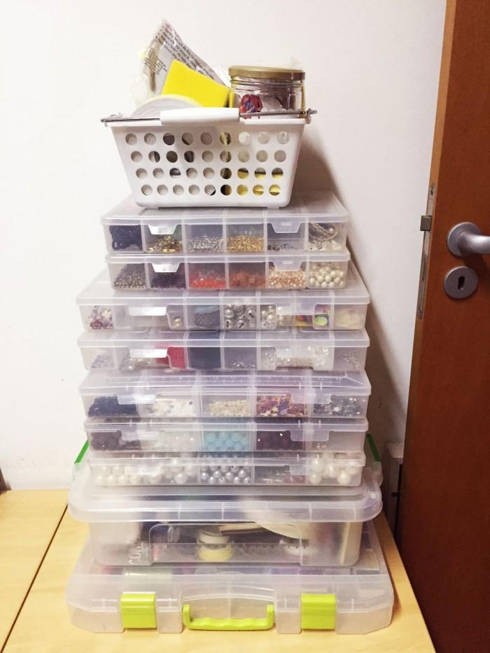 A coleção de materiais para scrap da Aninha é invejável (crédito da foto: Aninha Haddad)