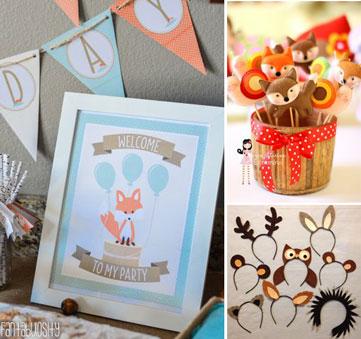 Montagem com exemplos de decoração com o tema animais da floresta (crédito da foto: Etsy)
