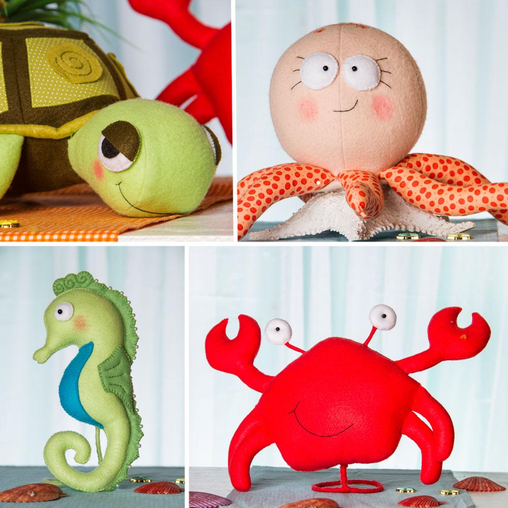 Tartaruga, polvo, cavalo marinho e caranguejo: turminha divertida