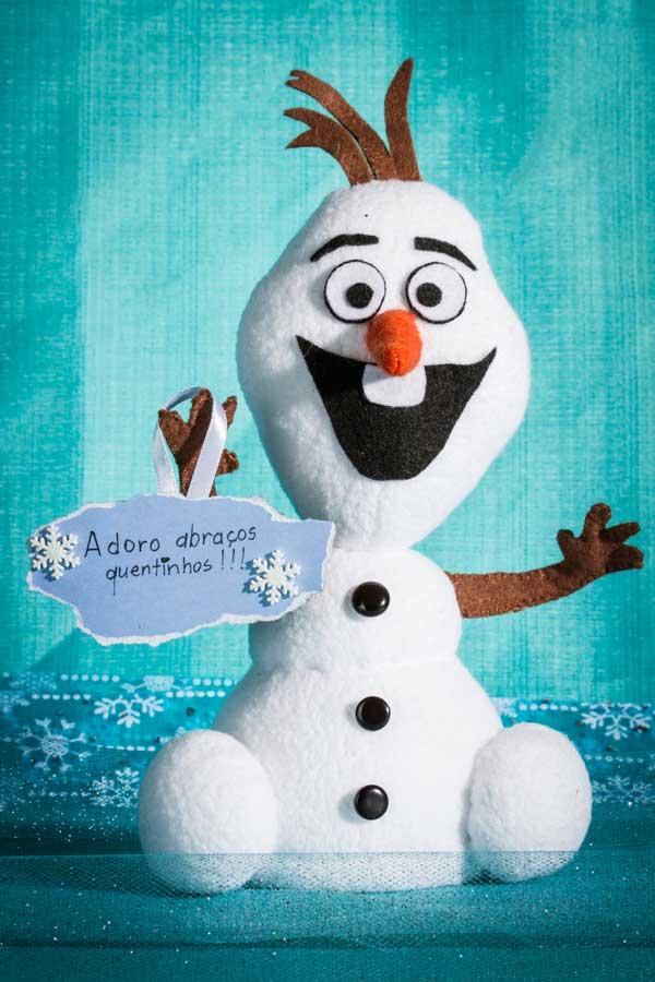 Boneco Olaf do curso bonecas de pano estilo oriental com Luciana Kummer