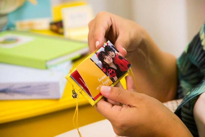 Peças feitas para o curso encadernação: peças para mamãe e bebê da eduK