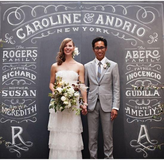 As letras servem como moldura para a foto, que conta a história do casal (via Pinterest)