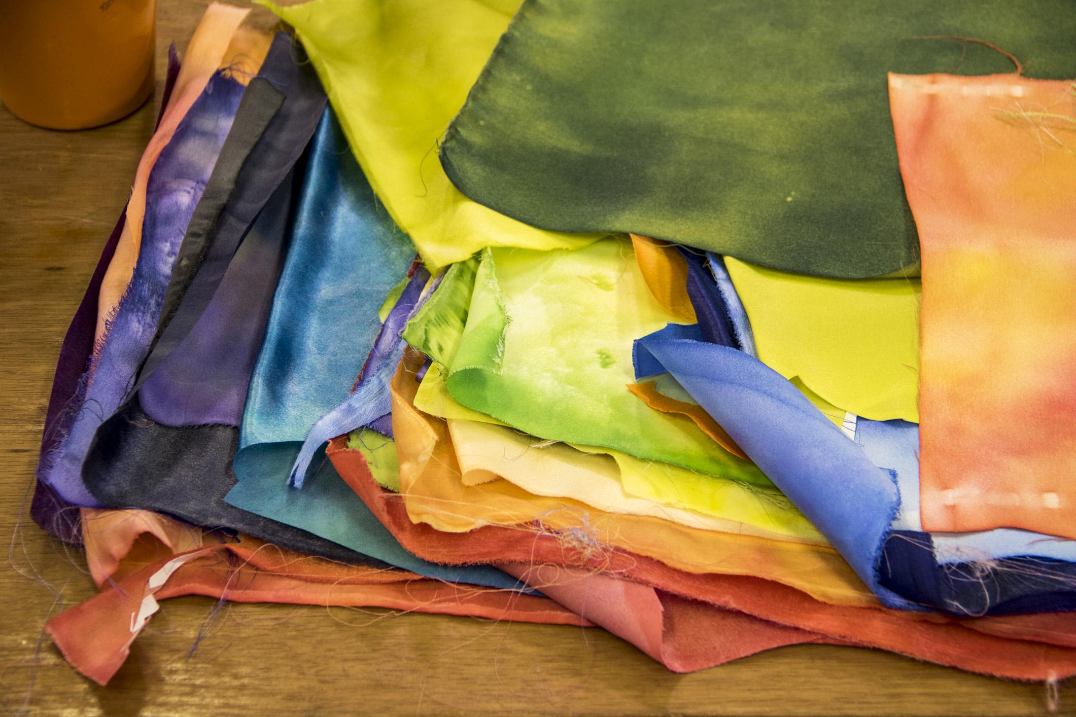 Tecidos usados no curso Patchwork artístico: técnicas para a composição de paisagens