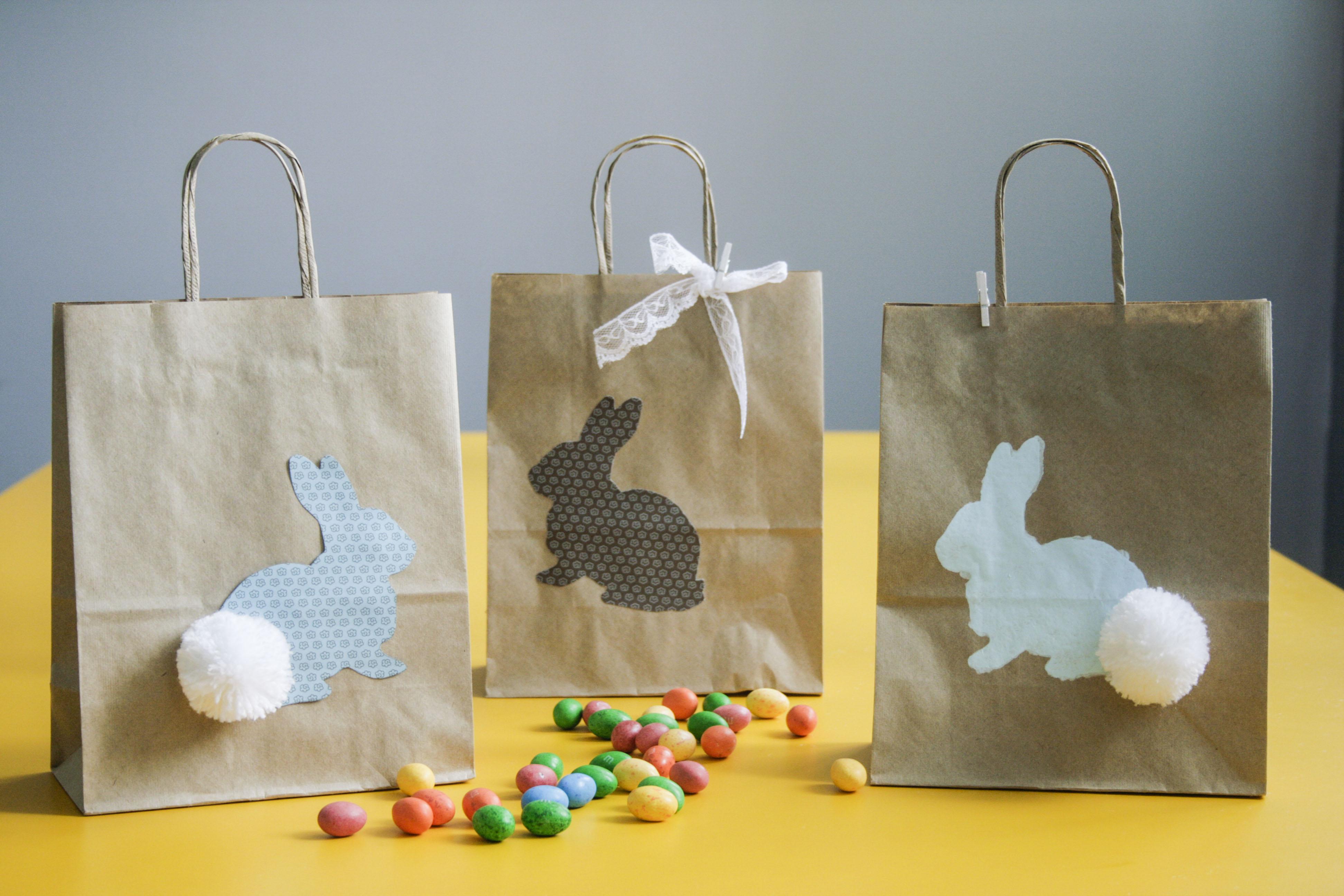 Sacolinhas de papel craft para a Páscoa, um jeito muito fofo de entregar suas peças!