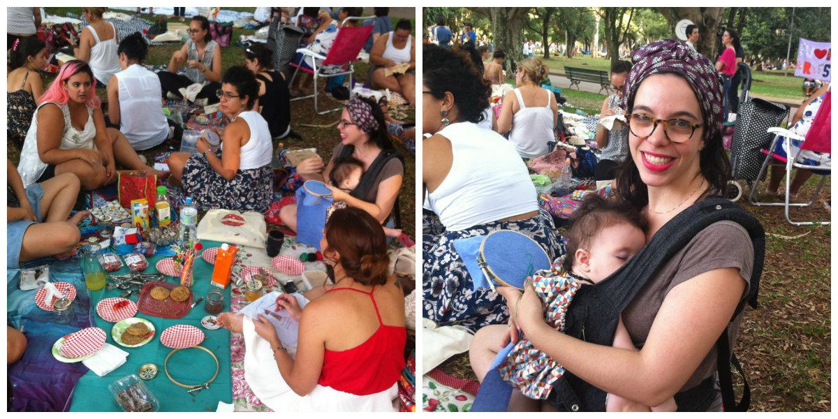 Marina, bordando na roda, entre amigas, e com a filha Thereza, de 6 meses