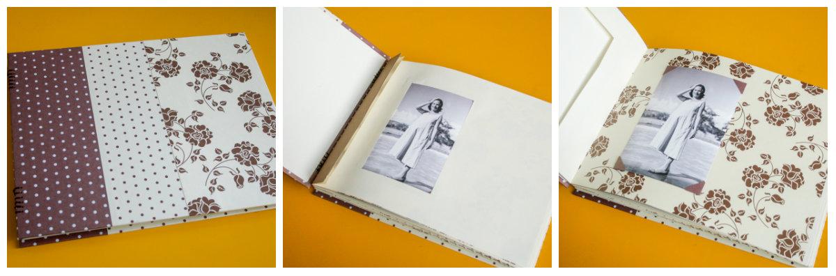 O álbum feito à mão em três momentos: a capa, o miolo com janela, e a página com a foto