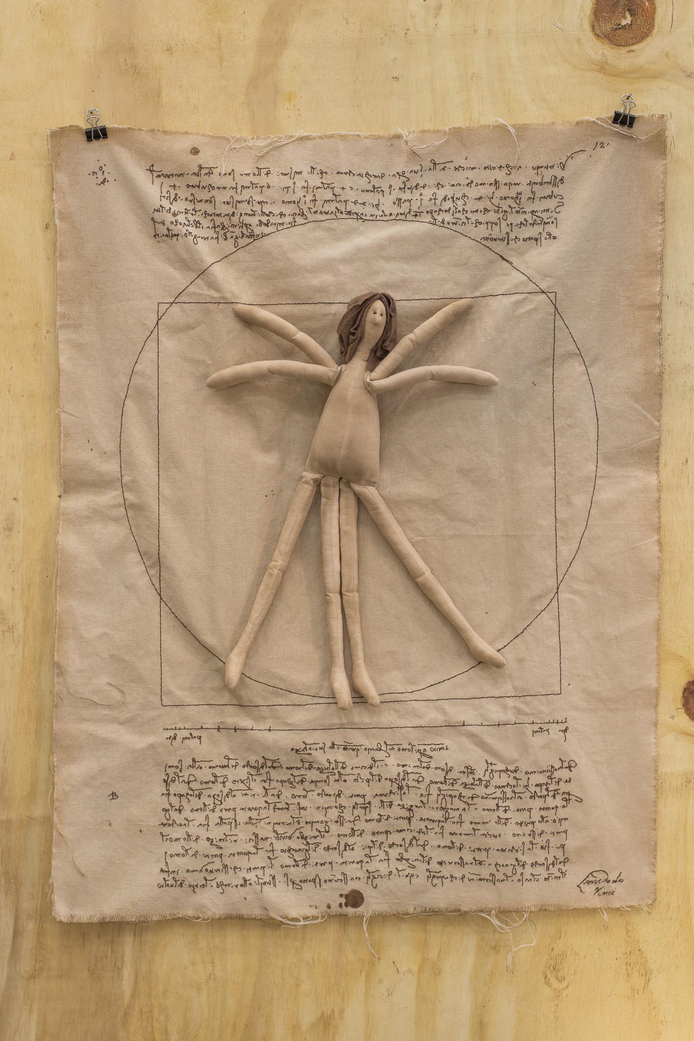 """Releitura de """"O Homem Vitruviano"""", de Leonardo da Vinci, por Andréia Kusaba"""